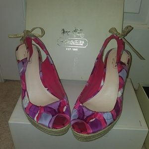 Authentic Coach pink and purple wedges